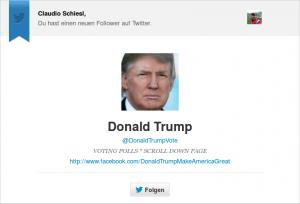 Bild: Trump folgte auch mir, diese kleine Geste aus der Frühzeit des Wahlkampfes sorgte wohl für eine Art Volksnähe.