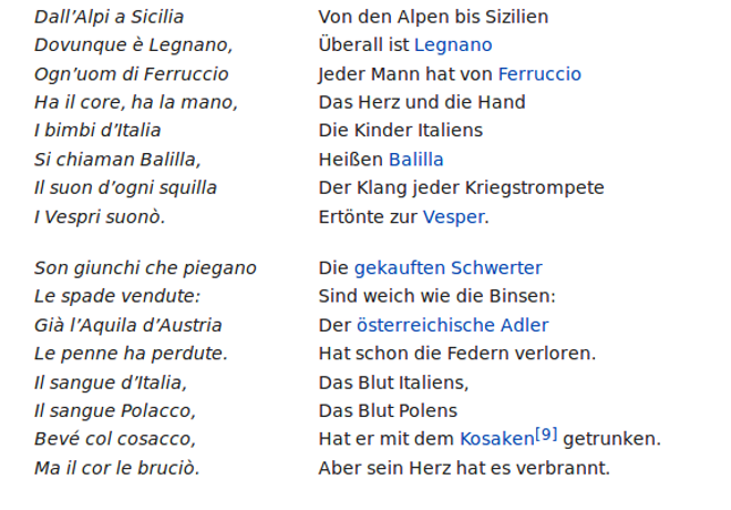 Text Italienische Hymne