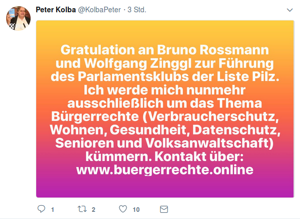 Peter Kolba Gratulation