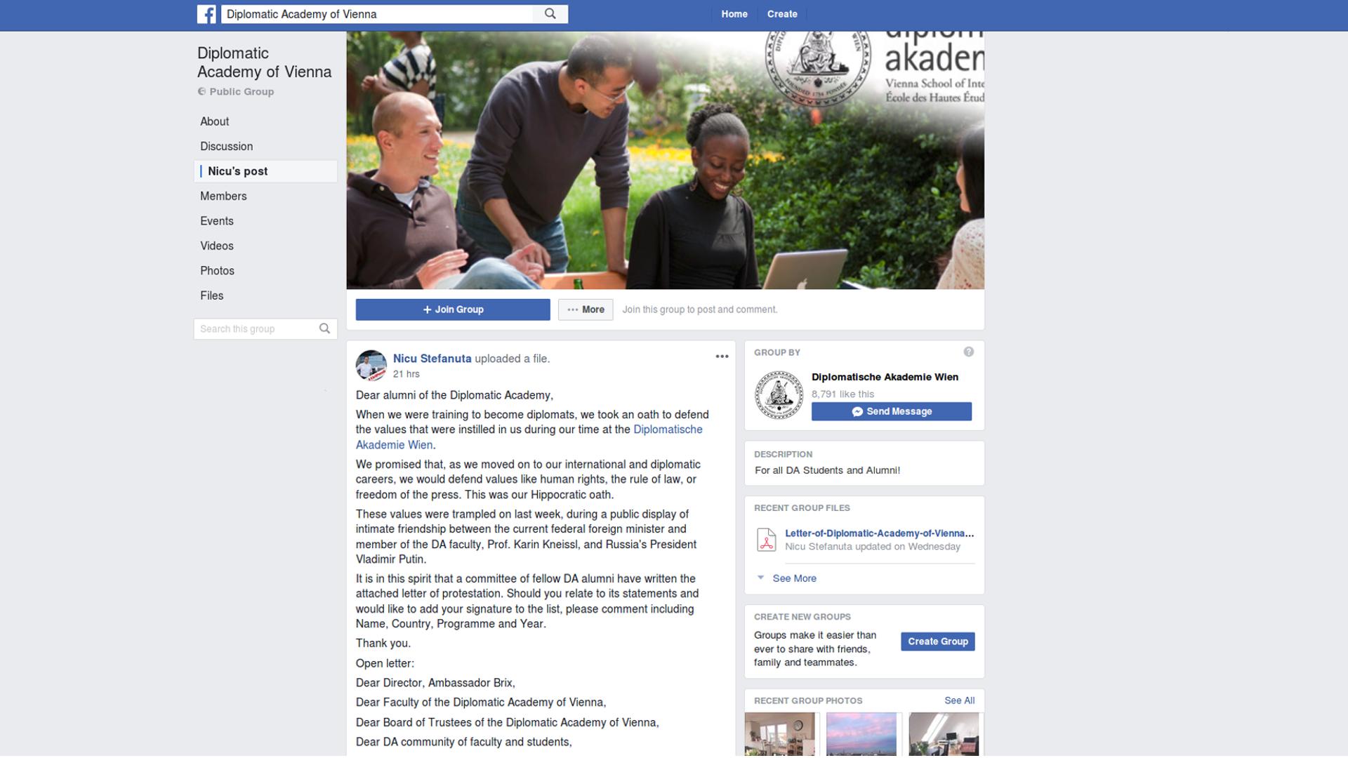 Diplomatische Akademie-Alumni-Putin-Besuch-Offener Brief