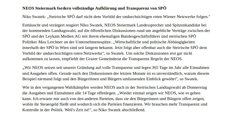 NEOS-Steiermark-Presseaussendung-Politik-Landtagswahl-Max Lercher-Leykam