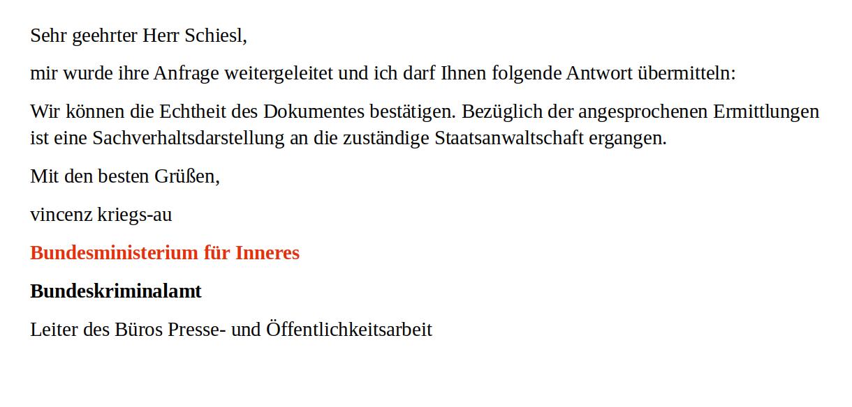 BKA-Bundeskriminalamt-Inside Politics-BVT-Affäre-Berner Club-Bericht