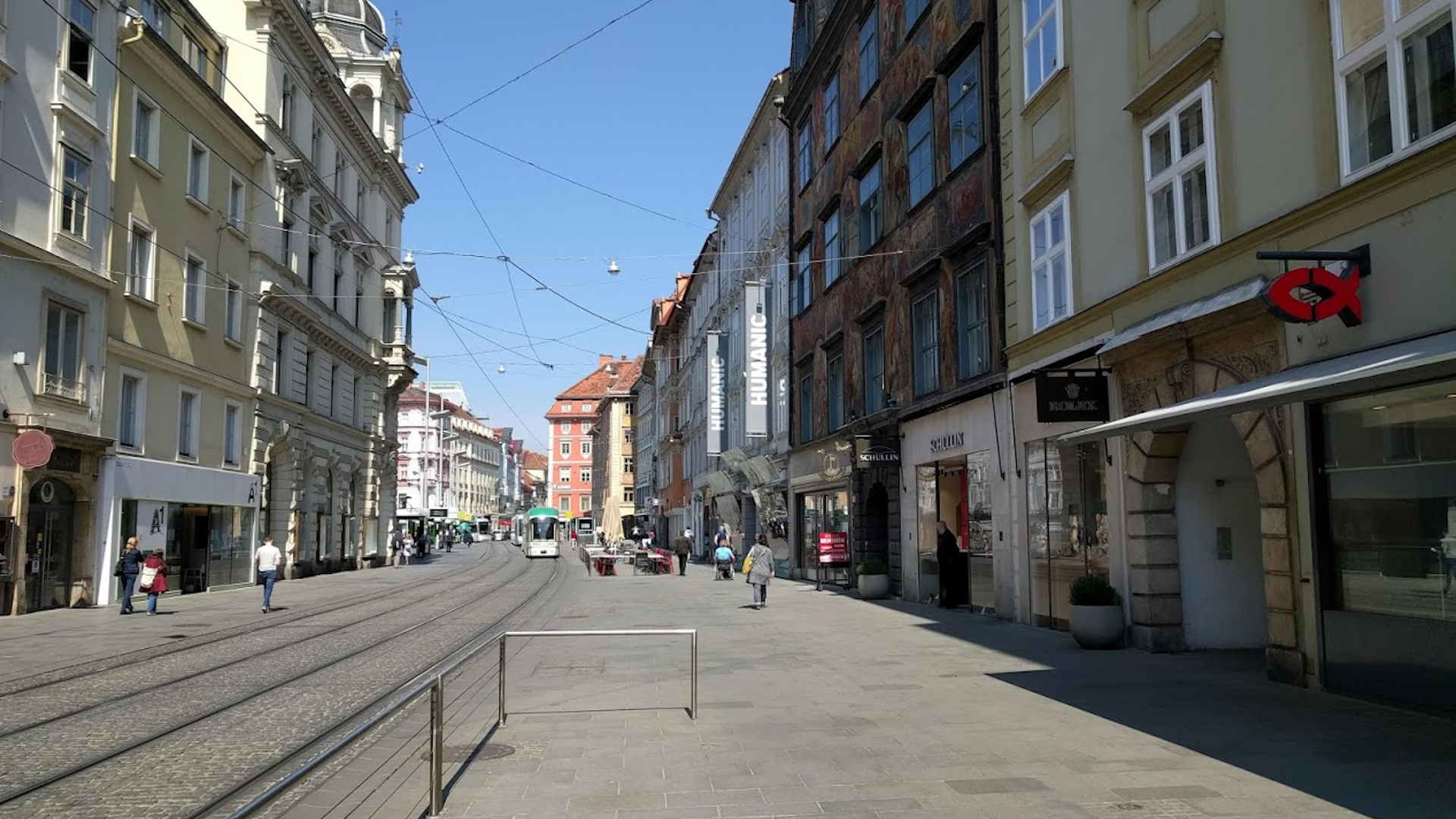 Bild-Graz-Straßenbahn-Herrengasse-Hauptplatz-Corona Krise-Normalfahrplan-Covid 19-2020-Steiermark-Graz Linien