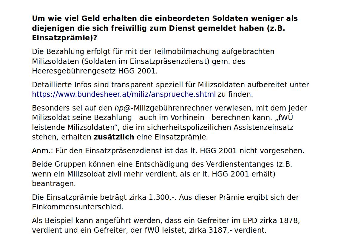Miliz-Milizsoldaten-Österreich-Bundesheer-Covid 19-Einsatz-Coronakrise-Armee-Bezahlung-Sold