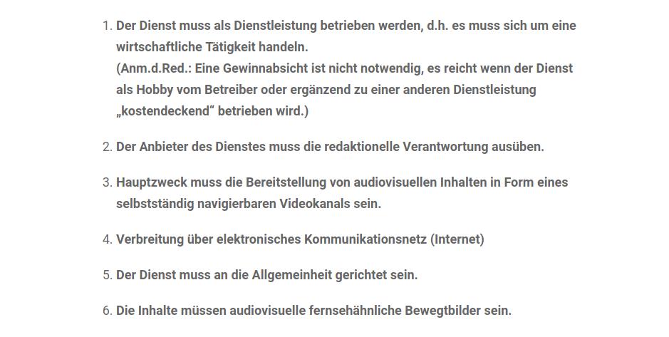 Youtube-KommAustria-Sechs Kriterien-Abrufdienste-Österreich-Regulierung-Audiovisuelles Mediendienste Gesetz