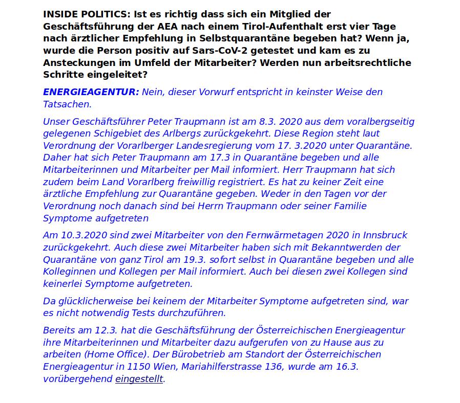 Corona-Covid-19-Kununu-Energieagentur-Wien-Inside Politics-Fakenews-Falschmeldung-Mitarbeiter-Peter Traupmann