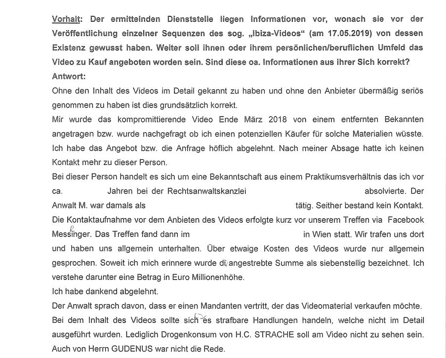 Ibiza-SPÖ-Soko Tape-Protokoll-Zeugeneinvernahme
