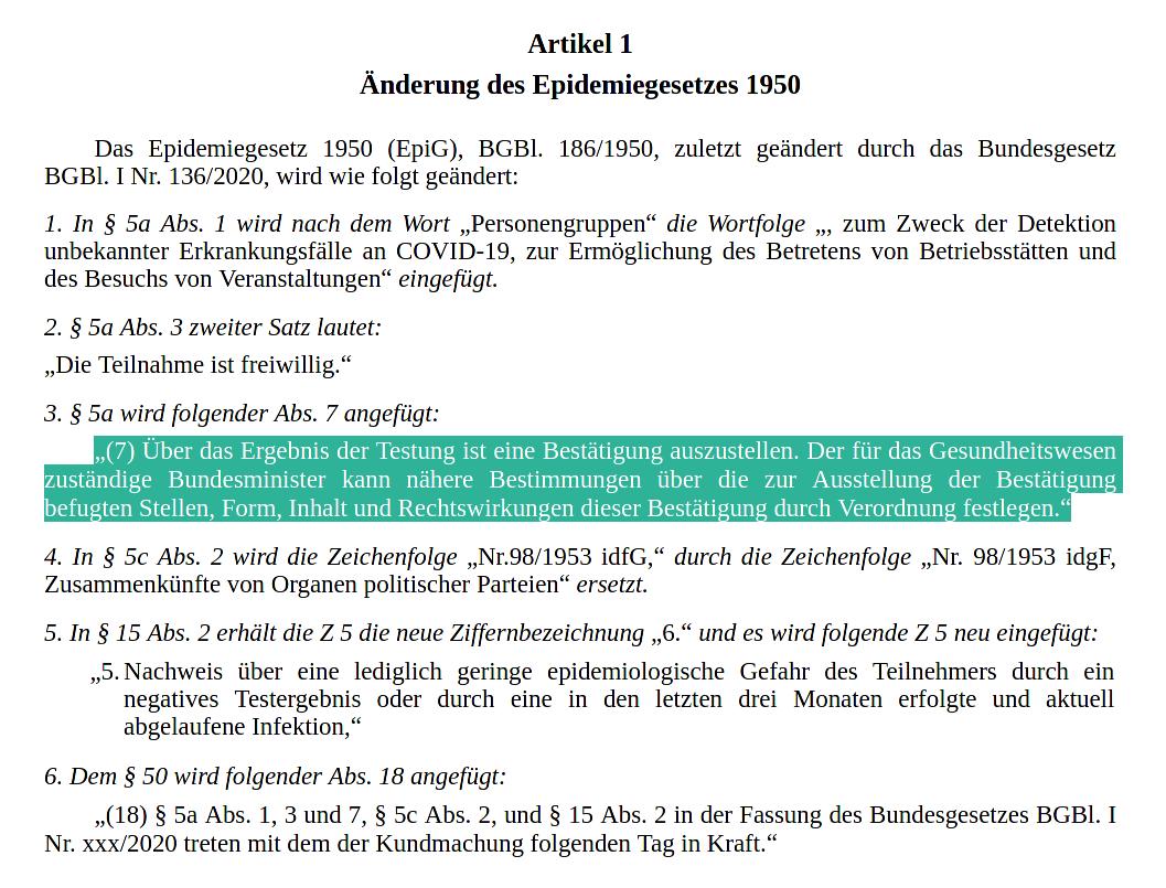 Freitesten-Gesetzestext-Artikel 1