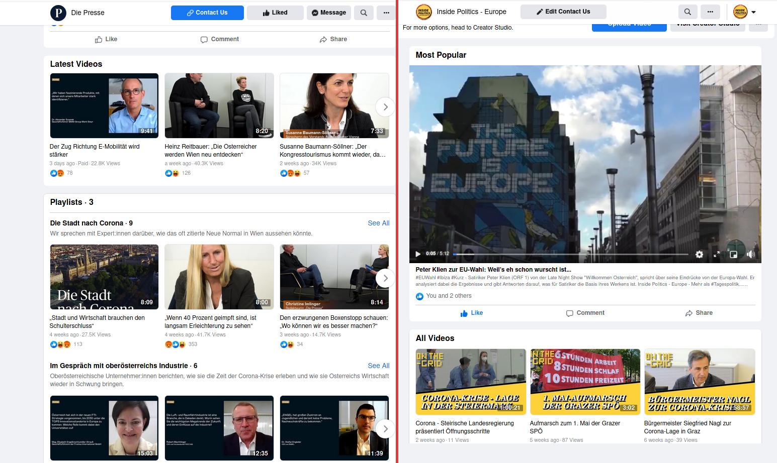 Facebook-Vergleich-Presse- Inside Politics Europe-Facebook Seiten-Web-Social Media